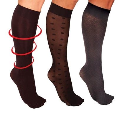 3Pk Fashion Compression Knee Highs